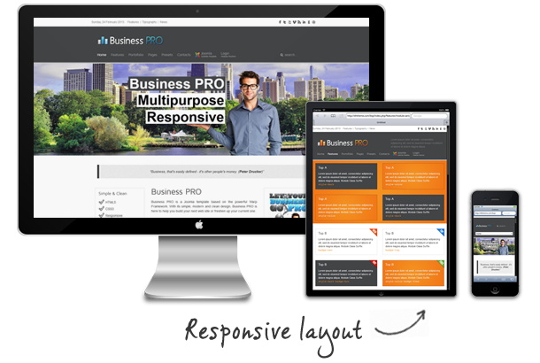 responsive layout - Business Pro - Clean Responsive Joomla Template